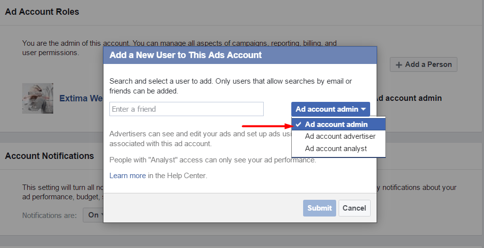 how to change someone to admin facebook page